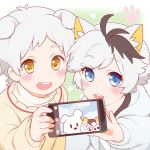 2boys animal_ears black_hair blue_eyes blush cat_boy cat_ears cellphone dog_boy dog_ears holding holding_phone hood hoodie male_focus multicolored_hair multiple_boys obi_chang okamoto_tama open_mouth paw_print phone phone_screen reaching_out self_shot smartphone smile sweater taking_picture two-tone_hair uchi_no_tama_shirimasen_ka? white_hair yamada_pochi yellow_eyes