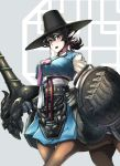 1girl absurdres animal_ears armor bangs belt black_belt black_hair black_headwear blush breasts centaur chain commentary_request cowboy_shot darros eyebrows_visible_through_hair gauntlets grey_background hair_between_eyes hair_ribbon hanbok hat highres holding holding_lance holding_polearm holding_shield holding_weapon horse_ears korean_clothes korean_commentary lance large_breasts long_sleeves looking_at_viewer monster_girl multiple_legs open_mouth original pink_ribbon pointy_ears polearm ponytail ribbon sarashi shield short_ponytail sidelocks simple_background solo standing thick_eyebrows top_hat traditional_clothes weapon white_ribbon yellow_eyes