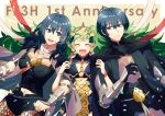 1boy 2girls anniversary armor black_gloves black_shorts blue_eyes blue_hair braid byleth_(fire_emblem) byleth_(fire_emblem)_(female) byleth_(fire_emblem)_(male) closed_eyes closed_mouth f_ico_e fire_emblem fire_emblem:_three_houses gloves green_hair highres long_hair multiple_girls navel_cutout open_mouth pantyhose pointy_ears ribbon_braid short_hair shorts sothis_(fire_emblem) tiara twin_braids upper_body