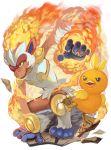 blue_eyes closed_mouth fire gen_3_pokemon gen_4_pokemon hand_up highres infernape no_humans open_mouth pokemon pokemon_(creature) starter_pokemon tongue torchic yellow_sclera yu_(mekeneko1998)