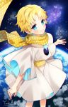 1boy baggy_clothes bangs blonde_hair blue_eyes blush bright_pupils fate/grand_order fate/requiem fate_(series) male_focus parted_bangs planet scarf sky smile solo space star_(sky) starry_sky voyager_(fate/requiem) yellow_scarf yuuhi_mika