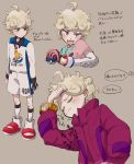 1boy ahoge arm_up beet_(pokemon) blonde_hair blush closed_eyes closed_mouth cns coat collared_shirt commentary_request curly_hair dynamax_band eyebrows_visible_through_hair great_ball grey_background highres long_sleeves multiple_views number open_mouth poke_ball pokemon pokemon_(game) pokemon_swsh purple_coat shirt short_sleeves shorts socks tongue translation_request violet_eyes watch watch