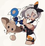 1girl bangs black_bodysuit black_hairband bodysuit bodysuit_under_clothes character_name collared_shirt commentary_request dynamax_band eyebrows_visible_through_hair gen_2_pokemon gloves grey_eyes grey_hair gym_leader hair_between_eyes hairband hands_up hitmontop open_mouth pokemon pokemon_(creature) pokemon_(game) pokemon_swsh print_shirt print_shorts saitou_(pokemon) shigetake_(buroira) shirt short_hair short_sleeves shorts single_glove tied_shirt