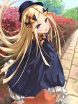 1girl abigail_williams_(fate/grand_order) bangs black_bow black_dress black_headwear blonde_hair blue_eyes blush bow breasts dress fate/grand_order fate_(series) forehead hair_bow hat long_hair looking_at_viewer multiple_bows open_mouth orange_bow parted_bangs polka_dot polka_dot_bow ribbed_dress sakazakinchan sleeves_past_fingers sleeves_past_wrists small_breasts smile stuffed_animal stuffed_toy teddy_bear white_bloomers
