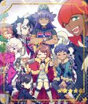 6+boys 6+girls ahoge asymmetrical_bangs bangs baseball_cap beet_(pokemon) between_breasts black_hair black_jacket blonde_hair blue_eyes border breasts brother_and_sister brown_hair cape choker coat commentary_request curly_hair dande_(pokemon) dark_skin dark_skinned_male eyewear_on_head facial_hair freckles fur-trimmed_cape fur-trimmed_jacket fur_hat fur_trim gloves green_eyes grey_hair gym_leader hair_ornament hair_over_one_eye hair_ribbon hat heart heart_hair_ornament holding hop_(pokemon) jacket kabu_(pokemon) long_hair long_sleeves looking_at_viewer mary_(pokemon) mask mature melon_(pokemon) multicolored_hair multiple_boys multiple_girls nezu_(pokemon) onion_(pokemon) open_mouth orange_hair pink_hair pokemon pokemon_(game) pokemon_swsh poplar_(pokemon) popped_collar purple_hair puteru red_cape red_ribbon ribbon rurina_(pokemon) shirt short_hair shorts siblings side_ponytail smile sonia_(pokemon) star_(symbol) strap_between_breasts sunglasses suspender_shorts suspenders sweater teeth tongue towel towel_around_neck two-tone_hair v violet_eyes white_hair yarrow_(pokemon) yuuri_(pokemon)
