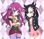 2girls asymmetrical_bangs asymmetrical_hair bangs black_choker black_jacket black_shirt blue_eyes choker crossover dress gen_8_pokemon highres jacket kirishima_romin kiriu-nagi long_hair marnie_(pokemon) medium_hair multiple_girls pantyhose pink_dress pokemon shiny shiny_hair shirt undercut yu-gi-oh! yu-gi-oh!_sevens