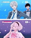 1boy 1girl android blue_eyes blue_neckwear dinikee idol microphone nier_(series) nier_automata no_blindfold pink_neckwear white_hair yorha_no._2_type_b yorha_no._9_type_s