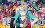 1girl aqua_eyes aqua_hair arm_up bangs black_kimono blonde_hair blue_screen_of_death bridge collarbone commentary confetti dango dice food frown gradient_hair hair_between_eyes hair_ornament hand_on_forehead hand_on_own_forehead hatsune_miku highres japanese_clothes japanese_house kimono looking_at_viewer magatan multicolored multicolored_hair multicolored_nails nail_polish obi one_eye_closed oriental_umbrella outline railing red_kimono rooftop sash scroll solo striped striped_kimono test_card twintails two-tone_hair umbrella upper_body vocaloid wagashi waves white_outline whorled_clouds yukata