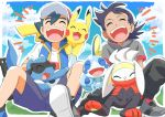 2boys absurdres bangs baseball_cap black_hair black_pants closed_eyes clouds commentary_request day gen_1_pokemon gen_4_pokemon gen_8_pokemon gou_(pokemon) grass hair_between_eyes hat highres jacket multiple_boys on_shoulder open_mouth outdoors pants pikachu pokemon pokemon_(anime) pokemon_(creature) pokemon_on_shoulder pokemon_swsh_(anime) raboot riolu satoshi_(pokemon) shirt shoes shorts sitting sky sobble spread_legs teeth tongue yasuda_shuuhei