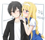 1boy 1girl alice_schuberg bangs black_eyes black_hair black_jacket blonde_hair blue_eyes blue_hairband blush braid closed_mouth collarbone commentary_request dress felutiahime hairband highres jacket kirito long_hair looking_at_another one_eye_closed open_clothes shirt short_hair short_sleeves single_braid sword_art_online upper_body white_shirt