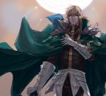 1boy armor black_gloves blonde_hair blue_eyes cape collared_cape excalibur_galatine fate/extra fate/grand_order fate_(series) fur_collar gauntlets gawain_(fate/extra) gloves green_cape holding holding_sword holding_weapon knight knights_of_the_round_table_(fate) linnne long_sleeves looking_at_viewer male_focus short_hair signature solo sun sword weapon