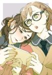 2girls black-framed_eyewear black_neckwear blush brown_hair cellphone earrings eyebrows_visible_through_hair fingernails glasses green_eyes hair_ornament hairclip half-closed_eyes head_on_shoulder highres holding holding_phone jewelry kyo_(kuroichigo) light_brown_hair lipstick long_hair makeup multiple_girls necktie open_mouth orange_lipstick orange_nails original parted_lips phone pink_lips ponytail scrunchie short_hair single_earring teeth tongue two-tone_background upper_body upper_teeth yellow_scrunchie