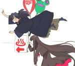 1boy 1girl balloon bangs black_hair blunt_bangs brown_hair button_eyes buttons closed_mouth fate/grand_order fate_(series) floating grey_scarf holding holding_balloon japanese_clothes long_hair okada_izou_(fate) open_mouth oryou_(fate) pako red_eyes scarf sign smile very_long_hair