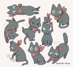 >_< :3 =_= anger_vein animal animal_focus ayu_(mog) black_cat cat closed_eyes commentary crow_(nichijou) nichijou no_humans red_scarf sakamoto_(nichijou) scarf signature simple_background solo tail