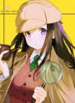 1girl alternate_costume bangs blush breasts brown_hair character_name chitanda_eru collared_shirt commentary_request green_neckwear hands_up hat heart heart_print highres holding hyouka jacket large_breasts long_hair long_sleeves looking_at_viewer magnifying_glass mery_(yangmalgage) necktie parted_lips playing_card_theme shirt signature solo upper_body vest violet_eyes white_shirt wing_collar yellow_background