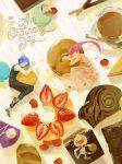 1boy 1girl a-shacho bangs black_pants black_vest blue_hair cake cake_slice closed_eyes commentary_request copyright_name dress earrings food fruit gen_1_pokemon highres jewelry kojirou_(pokemon) long_hair long_sleeves lying meowth musashi_(pokemon) on_side open_mouth pants pink_dress pokemon pokemon_(anime) pokemon_(creature) shirt shoes sleeping spoon strawberry team_rocket vest