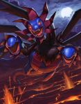 clouds commentary_request dragon fangs gen_5_pokemon glowing glowing_eyes highres hydreigon molten_rock moon multiple_heads night no_humans open_mouth outdoors pokemon pokemon_(creature) red_eyes sky solo supearibu tongue