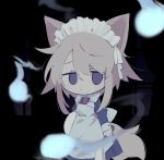 1girl animal_ears apron bangs black_background blonde_hair hitodama holding hrdrifter juliet_sleeves long_sleeves maid_apron maid_headdress puffy_sleeves red_ribbon ribbon short_hair sleeve_cuffs solo tail urotsuki violet_eyes window wolf_ears yume_2kki
