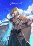 1boy absurdres armor bedivere blonde_hair braid breastplate cape character_name closed_mouth clouds fate/grand_order fate_(series) gauntlets green_eyes highres holding holding_sword holding_weapon knight long_hair looking_to_the_side male_focus na70413 outdoors ponytail prosthesis prosthetic_arm sky solo sword weapon white_cape