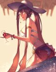 1girl alcohol ark_ford armlet bikini black_hair bracelet cup drinking_glass earrings fate/grand_order fate_(series) hat highres holding holding_cup jewelry long_hair looking_at_viewer looking_back pointy_ears sarong see-through semiramis_(fate) solo splashing sun_hat swimsuit very_long_hair water white_bikini white_headwear wine wine_glass yellow_eyes