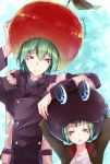 2boys age_difference age_progression animal_hat arm_up arms_behind_head artist_name bangs buttons child closed_mouth coat collar collared_jacket fran_(reborn) frog_hat fruit_hat fur_collar fur_trim green_eyes green_hair green_jacket hand_on_headwear hat highres jacket katekyo_hitman_reborn long_sleeves looking_at_another looking_down looking_to_the_side male_focus multiple_boys multiple_persona noko_(noko1886) open_clothes open_jacket shirt short_hair standing straight_hair uniform white_shirt