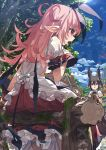 2girls animal animal_ear_fluff animal_ears binoculars bird black_neckwear blue_sky blush clouds cloudy_sky demon_girl demon_tail demon_wings dress dripping frilled_dress frills hair_between_eyes hair_ornament highres holding holding_binoculars house log long_hair low_wings mini_wings moon moss multiple_girls narumi_arata open_mouth original outdoors pink_hair pointy_ears puffy_sleeves rainbow red_eyes short_hair silhouette sitting sky standing sweat tail tongue tongue_out tree violet_eyes wet wet_clothes wings