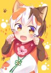 1boy :3 animal_ears blush brown_eyes brown_hair cat_boy cat_ears fangs indie_virtual_youtuber male_focus multicolored_hair open_mouth orange_hair paw-shaped_pupils paw_pose scarf scarf_over_mouth shiromaru4625 solo tatamaru_(vtuber) virtual_youtuber white_hair