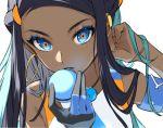 1girl armband blue_eyes blue_hair earrings fingerless_gloves gloves hoop_earrings jewelry looking_at_viewer necklace pokemon pokemon_(game) pokemon_swsh rurina_(pokemon) simple_background single_glove white_background yellow_pupils zattape