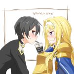 1boy 1girl alice_schuberg armor artist_name bangs bendy_straw black_eyes black_hair blonde_hair blue_eyes blush breasts bubble_tea bubble_tea_challenge commentary_request cup disposable_cup drink drinking_straw epaulettes felutiahime from_side gold_armor hairband highres kirito long_hair looking_at_another looking_at_viewer md5_mismatch open_mouth short_hair shoulder_armor sweatdrop sword_art_online sword_art_online:_alicization translated upper_body white_background white_hairband