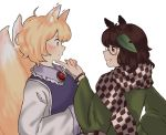 2girls animal_ears blonde_hair blush brown_hair commentary daitoko english_commentary finger_to_another's_chin fox_ears fox_tail from_side futatsuiwa_mamizou grin hair_ornament highres leaf_hair_ornament long_sleeves multiple_girls multiple_tails profile raccoon_ears smile tail touhou upper_body white_background wide_sleeves yakumo_ran yuri