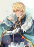 1boy armor black_gloves blonde_hair blue_cape blue_eyes cape collared_cape excalibur_galatine fate/extra fate/grand_order fate_(series) fisheep fur_collar gauntlets gawain_(fate/extra) gloves knight knights_of_the_round_table_(fate) light_smile long_sleeves looking_at_viewer male_focus short_hair signature smile solo upper_body