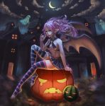 1girl absurdres bangs bare_arms bare_shoulders belt breasts brown_belt candy crescent_moon demon_girl demon_wings floating_hair food fruit ghost hair_tie highres holding holding_candy holding_food holding_lollipop house jack-o'-lantern lollipop long_hair looking_at_viewer medium_breasts melon moon navel night original outdoors pink_nails pointy_ears pumpkin sitting skirt skull smile solo stomach striped striped_legwear thigh-highs toeless_legwear wings xue_qi_ye_(dndtmbdue)