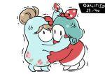 2girls bangs bodysuit bow fall_guys fighting green_bodysuit green_hair hair_bow hair_bun highres idolmaster idolmaster_million_live! multiple_girls ponytail red_bodysuit takahiro_(taka_cv) tenkuubashi_tomoka tokugawa_matsuri