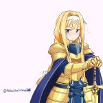 1girl alice_schuberg angry armor bangs blonde_hair blue_cape blue_eyes blush braid breastplate cape commentary_request eyebrows_visible_through_hair felutiahime frown gauntlets gold_armor hair_intakes hairband highres holding long_hair long_sleeves looking_at_viewer ribbon shoulder_armor simple_background solo sparkle sword sword_art_online twitter_username v-shaped_eyebrows very_long_hair weapon white_hairband white_ribbon