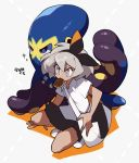 1girl bag bangs black_hairband black_skirt bow_hairband collared_shirt commentary food_in_mouth gen_8_pokemon grapploct grey_eyes grey_hair hair_between_eyes hairband mouth_hold pleated_skirt pokemon pokemon_(creature) pokemon_(game) pokemon_swsh saitou_(pokemon) shigetake_(buroira) shirt shoes short_hair short_sleeves shoulder_bag skirt squatting translation_request white_footwear white_shirt