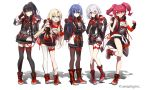 5girls ahoge arm_at_side arm_under_breasts asymmetrical_legwear backpack bag bangs bare_shoulders black_bag black_gloves black_hair black_jacket black_legwear blonde_hair blue_eyes boots breasts brown_eyes character_request clenched_hands closed_mouth clothes_around_waist collarbone commentary_request cross-laced_footwear eyebrows_visible_through_hair eyes_visible_through_hair fingerless_gloves foot_up full_body gloves hair_between_eyes hair_ornament hair_over_one_eye hair_ribbon hand_on_hip hand_on_own_chest hands_up headphones headphones_around_neck heterochromia highres jacket jacket_around_waist lace-up_boots leg_up long_hair long_sleeves looking_at_viewer medium_breasts mouse_print multicolored multicolored_clothes multicolored_footwear multicolored_hoodie multicolored_jacket multicolored_shirt multiple_girls open_clothes open_jacket open_mouth outstretched_arm outstretched_hand pantyhose pink_eyes ponytail rea_official red_eyes red_footwear red_gloves redhead ribbon shoes short_hair short_sleeves shorts silver_hair single_glove single_thighhigh sleeves_past_wrists smile socks thigh-highs toes_up twintails wattaro white_legwear zettai_ryouiki