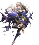 1girl armor armored_dress ass bangs cape corrin_(fire_emblem) corrin_(fire_emblem)_(female) fire_emblem fire_emblem_fates fire_emblem_heroes full_body gloves hairband highres long_hair manakete official_art pointy_ears red_eyes senchat shiny shiny_hair sleeveless solo thigh-highs toeless_legwear toes transparent_background white_hair