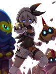 1girl bangs black_bodysuit black_hairband blue_eyes bodysuit bodysuit_under_clothes collared_shirt commentary_request covered_navel falinks gen_8_pokemon glint gloves glowing glowing_eyes grapploct grey_hair gym_leader hair_between_eyes hairband highres holding holding_poke_ball knee_pads looking_at_viewer ooike_teru poke_ball pokemon pokemon_(creature) pokemon_(game) pokemon_swsh print_shirt print_shorts rock saitou_(pokemon) shirt short_hair shorts single_glove tied_shirt ultra_ball