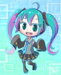 1girl aqua_eyes aqua_hair aqua_neckwear black_legwear boots chamaji chibi commentary detached_sleeves gradient gradient_background hatsune_miku headphones headset highres long_hair looking_at_viewer necktie number_tattoo open_mouth signature skirt sleeves_past_fingers sleeves_past_wrists smile solo spring_onion symbol-shaped_pupils tattoo thigh-highs thigh_boots twintails very_long_hair vocaloid wide_sleeves zettai_ryouiki