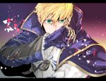 1boy armor armored_dress arthur_pendragon_(fate) black_border blonde_hair blue_cape blue_dress border breastplate cape dress fate/grand_order fate/prototype fate_(series) faulds gauntlets greaves green_eyes hair_between_eyes knowxxxing long_sleeves looking_at_viewer male_focus pauldrons short_hair shoulder_armor signature solo upper_body