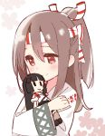 2girls black_hair blush brown_hair doll doll_hug floral_background hachimaki headband japanese_clothes kantai_collection multiple_girls red_eyes shouhou_(kantai_collection) yoru_nai zuihou_(kantai_collection)