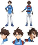 1boy blue_eyes brown_hair character_sheet dagger gundam gundam_build_divers gundam_build_divers_re:rise highres holstered_weapon looking_at_viewer mikami_riku multiple_views official_art open_mouth standing transparent_background weapon