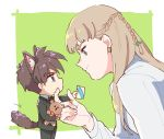 1boy 1girl animal_ears blue_eyes braid brown_hair cat_ears cat_tail earrings envelope face fake_animal_ears fake_tail formal gundam gundam_wing hastune heero_yuy holding holding_envelope holding_stuffed_animal jewelry light_brown_hair long_hair looking_at_another miniboy profile relena_peacecraft short_hair smile stuffed_animal stuffed_toy suit tail violet_eyes