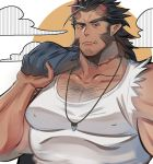 1boy bara black_hair body_hair brk_603 chest chest_hair covered_nipples cropped_torso facial_hair fang goatee highres horns jewelry looking_at_viewer male_focus manly medium_hair muscle necklace pectorals red_eyes scar shirtless sideburns solo takemaru_(tokyo_houkago_summoners) tank_top thick_eyebrows tokyo_houkago_summoners upper_body