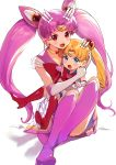 2girls absurdres age_regression aki_(mare_desiderii) bishoujo_senshi_sailor_moon blonde_hair blush boots chibi_usa double_bun elbow_gloves full_body gloves hair_ornament highres long_hair looking_at_viewer multiple_girls older open_mouth pink_footwear pink_hair pleated_skirt red_eyes red_footwear sailor_chibi_moon sailor_moon simple_background sitting sitting_on_lap sitting_on_person skirt super_sailor_chibi_moon super_sailor_moon tsukino_usagi twintails white_background younger