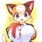 1boy 1girl :3 :d animal_ears beige_fur between_breasts blue_eyes blush blush_stickers breast_pocket breasts brown_fur cat cat_ears cat_girl cat_tail claws dotted_background furry grabbing_own_breast large_breasts light_brown_hair looking_at_another lowres mouse mouse_boy mouse_ears mouse_tail necktie open_mouth orange_fur original pawpads pocket red_neckwear shirt simple_background smile tail takiune uniform white_background white_fur white_shirt yellow_background