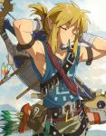 1boy adjusting_hair arrow_(projectile) bandaged_arm bandages bangs belt blonde_hair blue_shirt blush bow_(weapon) brown_belt closed_eyes clouds day enotou_(enotou_moi) green_shorts highres link male_focus mouth_hold outdoors pointy_ears pouch quiver shield shirt shorts sidelocks sky sleeveless sleeveless_shirt the_legend_of_zelda the_legend_of_zelda:_breath_of_the_wild weapon weapon_on_back