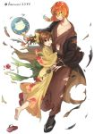1boy 1girl alternate_costume brother_and_sister brown_eyes brown_hair candy_apple closed_mouth crossed_arms delthea_(fire_emblem) fire_emblem fire_emblem_echoes:_shadows_of_valentia food haru_(nakajou-28) highres holding japanese_clothes kimono long_hair long_sleeves luthier_(fire_emblem) obi one_eye_closed open_mouth orange_hair ponytail sash siblings simple_background torn_clothes twitter_username white_background wide_sleeves