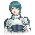 1boy blue_eyes blue_hair gundam helmet holding holding_helmet kamille_bidan looking_up medium_hair nekkikamille open_mouth pilot_suit solo white_background zeta_gundam