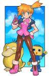 1girl black_eyes cosplay crossover dakusuta earrings gen_1_pokemon green_eyes highres holding holding_poke_ball iizuka_mayumi jewelry kasumi_(pokemon) kobun orange_hair pantyhose poke_ball poke_ball_(basic) pokemon pokemon_(creature) pokemon_(game) pokemon_rgby psyduck robot rockman rockman_dash seiyuu_connection tron_bonne tron_bonne_(cosplay) v waving